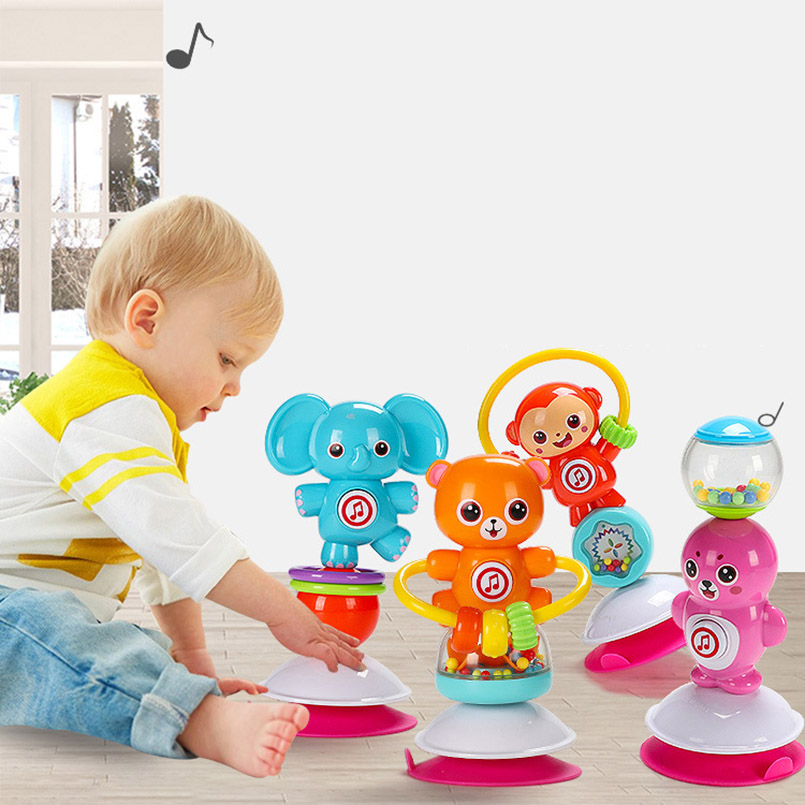 Baby Rattles Toys Newborn animal Rotate Suction cup dining table rattles Baby...