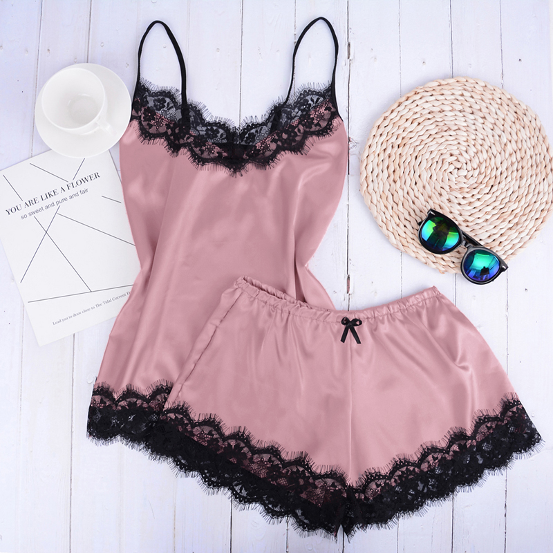 Separate 2pcs Lace Sleepwear Women Beach Dress Lingerie Night Short Sleeveless Ladies Satin Nightgown Through La Sleepwear