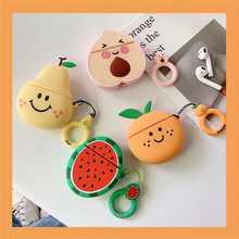For AirPods Case 3D Cute Watermelon Pear Peach Orange Earphone Case For Apple Airpods 1 2 Silicone Cover with Finger Ring Strap цена