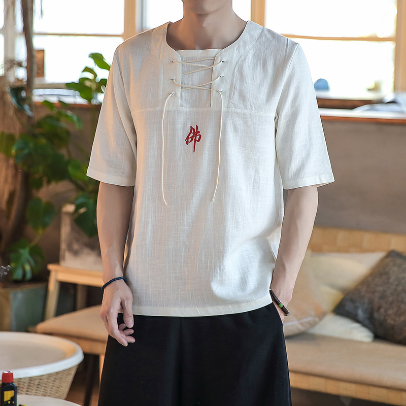 0574 Summer Cotton Linen Shit Men Short Sleeve Grey White Red Casual Vintage T shirt Male Bandage Embroidery Tshirt Fashion in T Shirts from Men 39 s Clothing