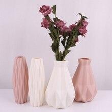 Ceramic Vase Origami Shape White Simulation Portable Flower Arrangement Container Home Desktop Decorations