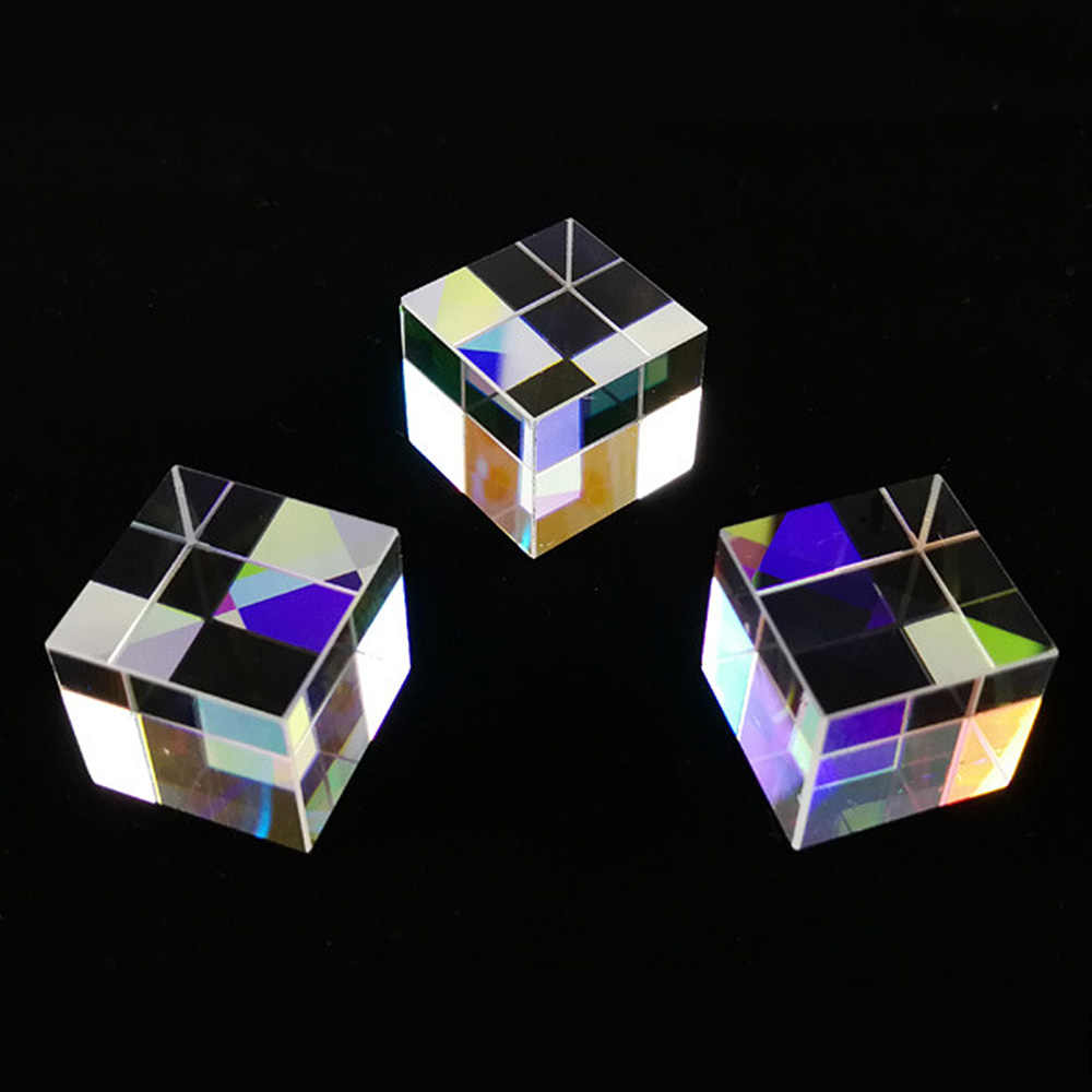 Cubo creativo de luz moderna decoración del hogar vitral Prisma de división de viga Prisma de luz óptica x-cube