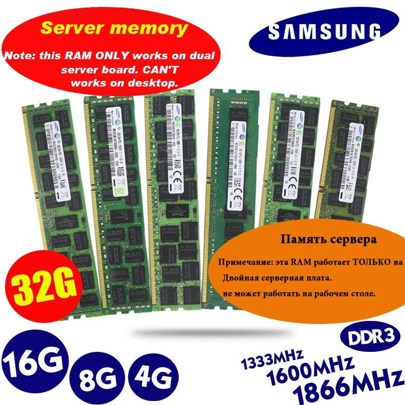 Samsung 16gb 8gb 4gb 16g 8g 4g ddr3 2rx4 PC3-10600R 12800r 14900r ecc reg 1866mhz 1600mhz 1333mhz memória do servidor ram 1066