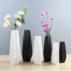 S/M/L prosty nowoczesny czarny/biały wazony ceramiczne salon sypialnia dekoracja na biurko rzemiosło artystyczne wazon na kwiaty dekoracje prezent urodzinowy