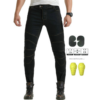 Windproof Biker Jeans for Men Motorcycle Motorbike Riding Pants With 4 X Removable CE Armored Knee Hip Protector Pads XS-XXXL