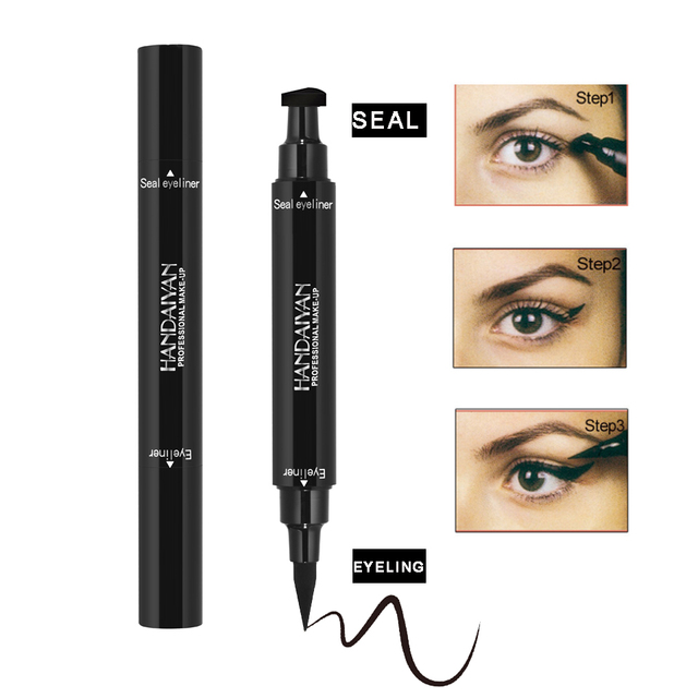 Double-Headed Seal Black Eyeliner 2 in 1 Liquid Triangle Seal Eyeliner Waterproof Eye Liner Pencil Stamp Eyeliner Pen Eye Makeup 1