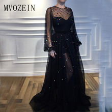 Vestido de festa Black Evening Dresses Long Tulle A-Line Jewel-Neck Full Sleeves Crystal Floor Length Evening Party Dress Formal