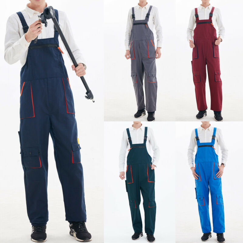 2020 Men's Tooling Bib Heavy Duty Work Jumpsuit Coveralls Overalls Mechanic Indoor House Work Wears Male Functional Clothing