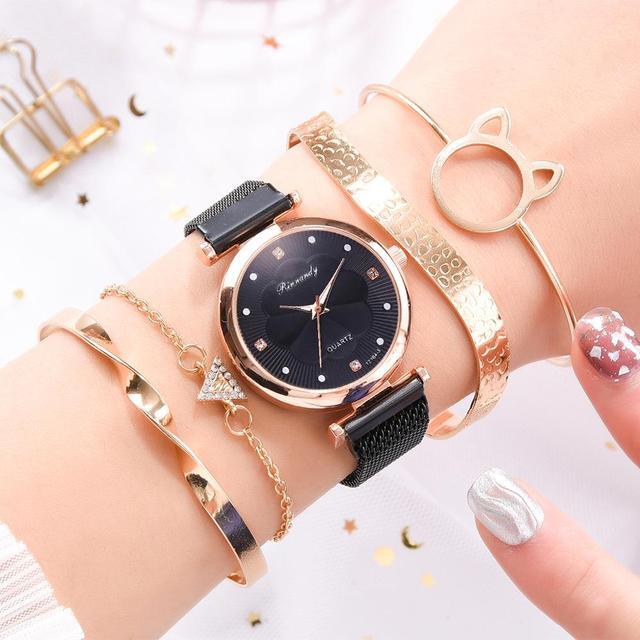 Conjunto de 5 uds. De relojes de lujo con hebilla magnética para Mujer, pulsera de cuarzo con diamantes de imitación y flores 5