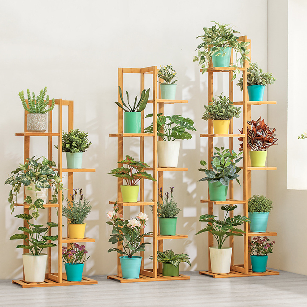 Bamboo 5 / 6 Tier Plant Stand Rack Multiple Flower Pot Holder Shelf Indoor Outdoor Planter Display Shelving Unit for Patio