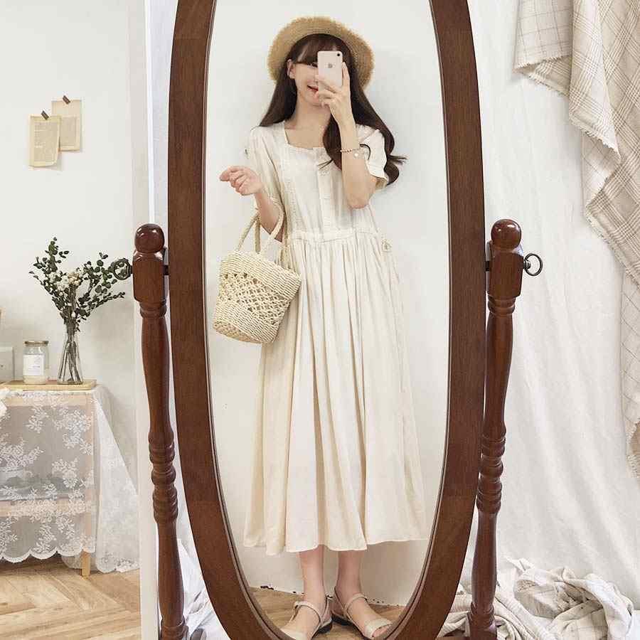 플러스 사이즈 여름 드레스 여자 Boho 파티 여성 빈티지 드레스 화이트 버튼 카디건 짧은 소매 여성 드레스 긴 로브 Vestido