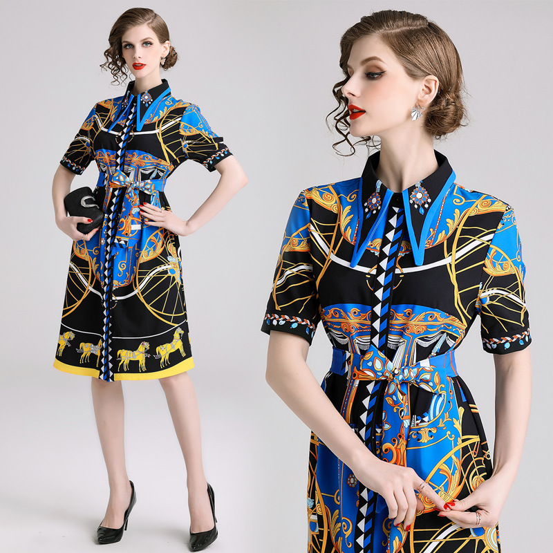 2019 New Style Europe And America Fold-down Collar Single Breasted Thin Drawstring Palace Retro Printed Debutante Dress [Photo S