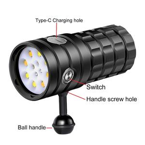 Image 2 - NEW LED Diving Flashlight 8 XHP50 25000Lumens 100m Waterproof Photography Tactical Torch Camera Video Light