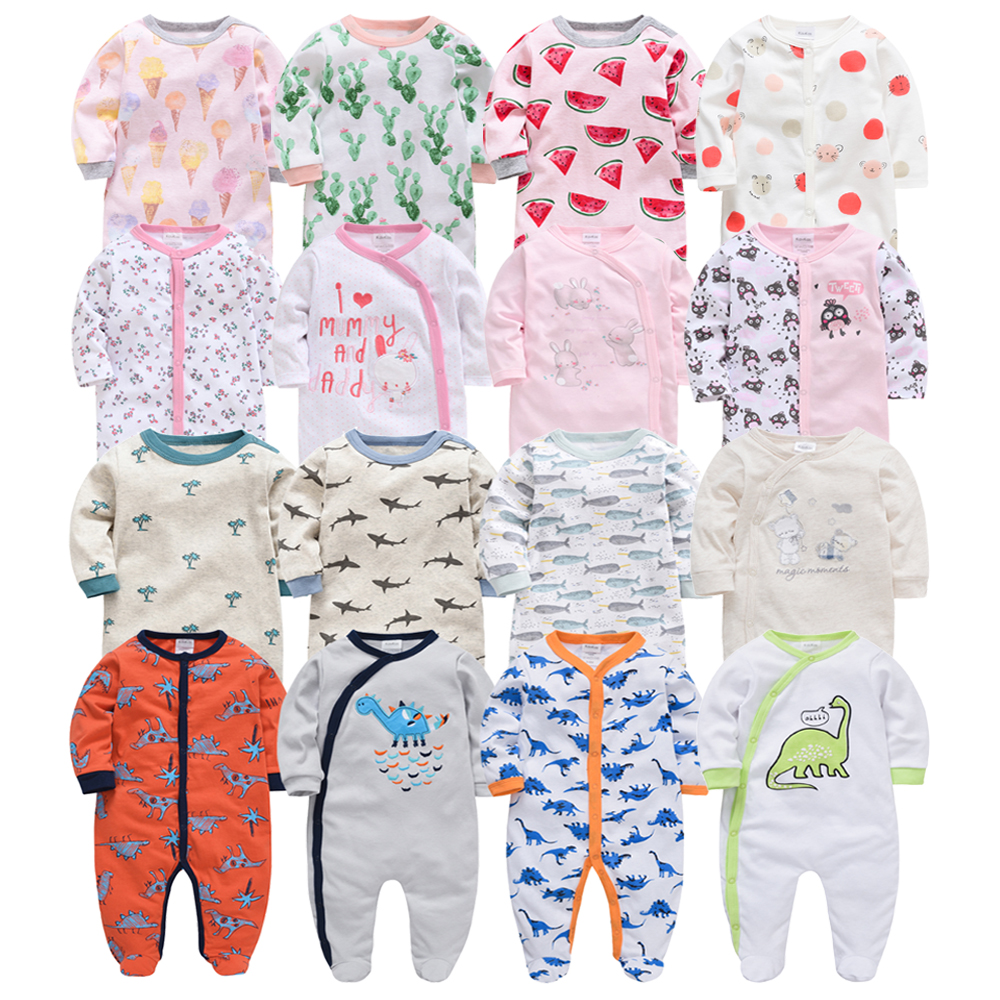 2019 6pcs/lot Cotton Baby Boy Girl   Romper   Long Sleeve Cute Cartoon Newborn Baby Girl Clothes ropa bebes Breastfeeding Clothes