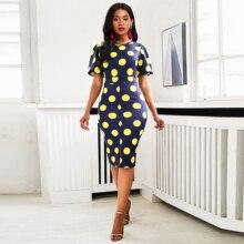 Women Midi Dresses Elegant Blue Office Lady Plus Size Bodycon High Waist Polka Dots Print Split Summer Female Fashion Dress polka dots split day dress