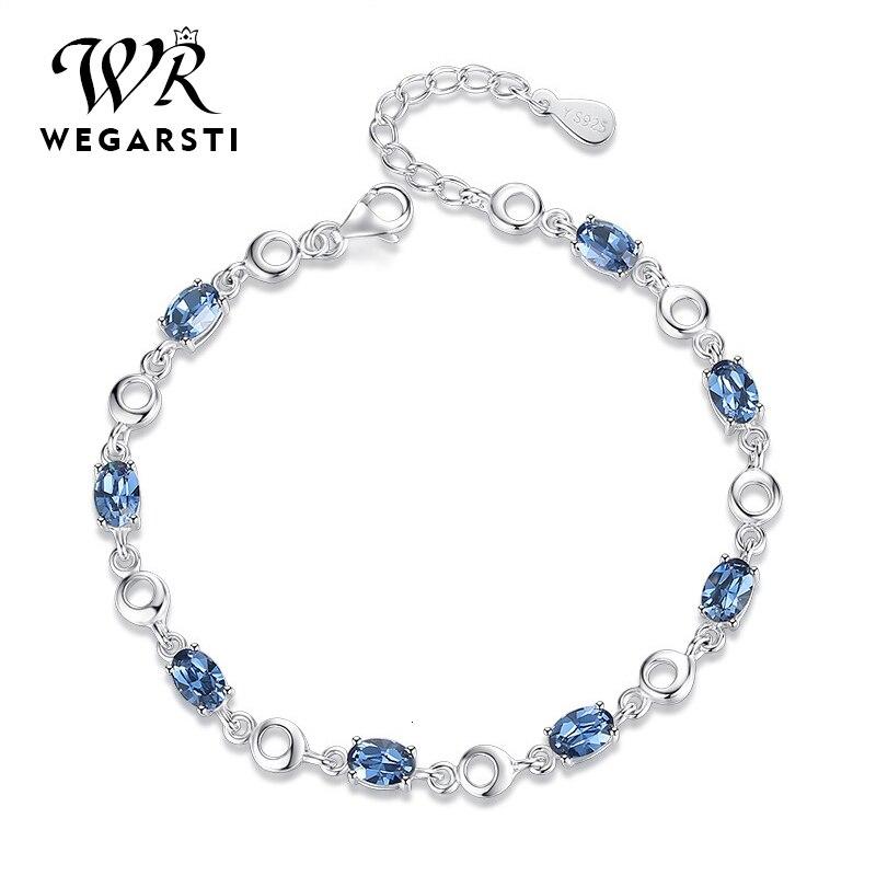 WEGARASTI серебро 925 ювелирные браслеты с топазами для женщин Настоящее 925 пробы серебряный браслет с камнями классические ювелирные изделия