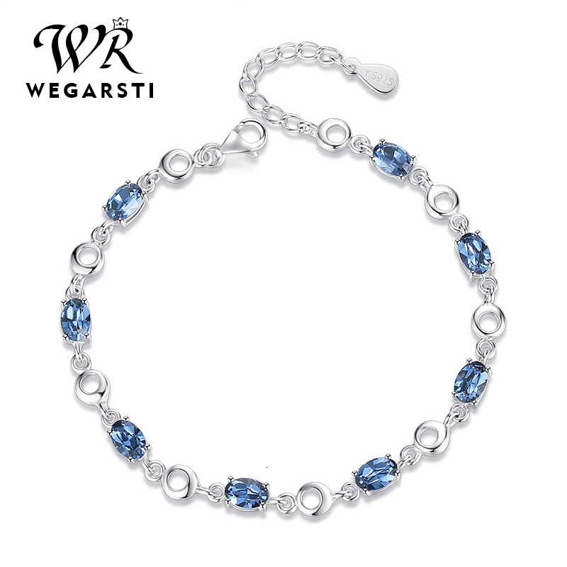 WEGARASTI Silver 925 Jewelry Topaz Bracelets For Female Real 925 Sterling Silver Gemstone Bracelet Classic Jewellery