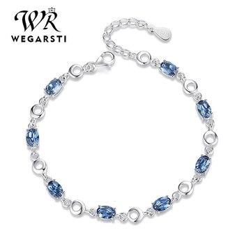WEGARASTI Silver 925 Jewelry Topaz Bracelets For Female Real Sterling Gemstone Bracelet Classic Jewellery