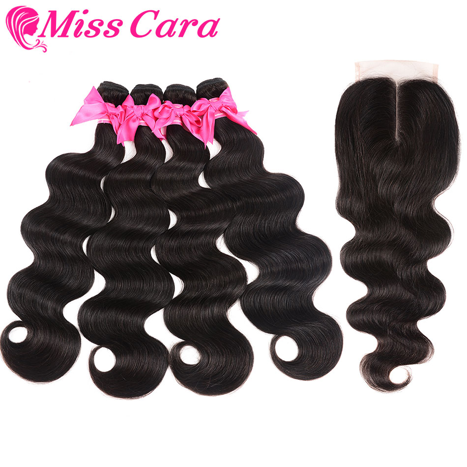 Miss Cara Remy Body Wave Bundles With Closure Brazilian Hair Weave Bundles With Closure 100% Human Hair 3/4 Bundles With Closure