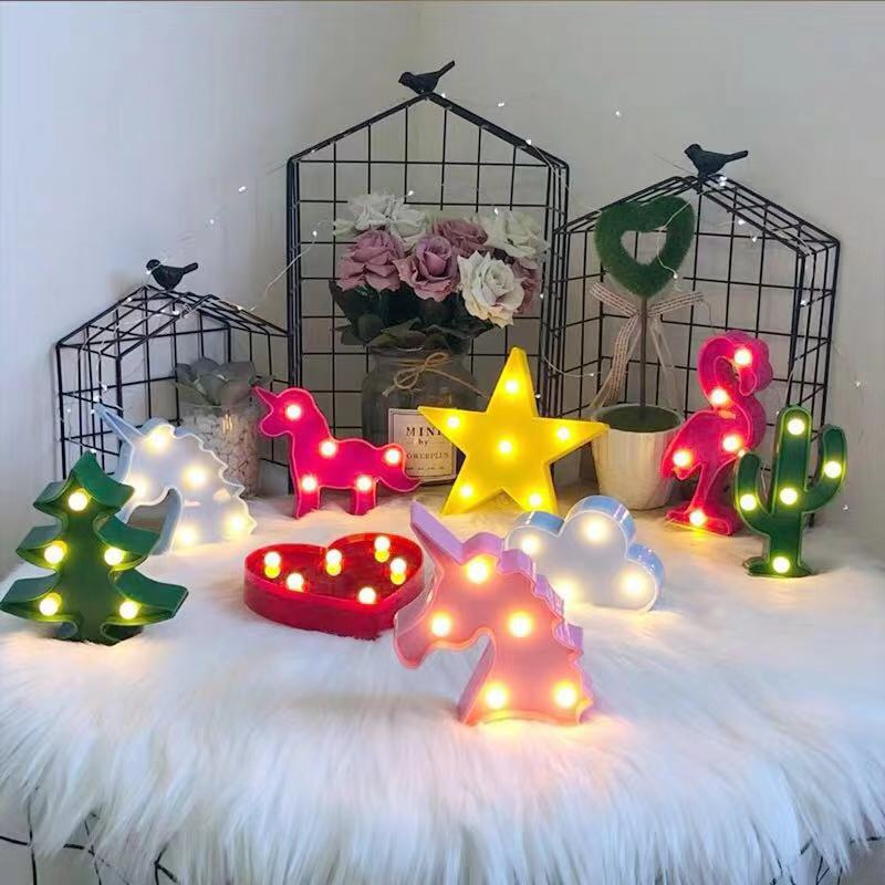 YAYU Cartoon Table Lamp 3D Crown /unicorn Head/Cactus/unicorn/Modeling Night Light LED Table Lamp Home Decoration Office Gifts