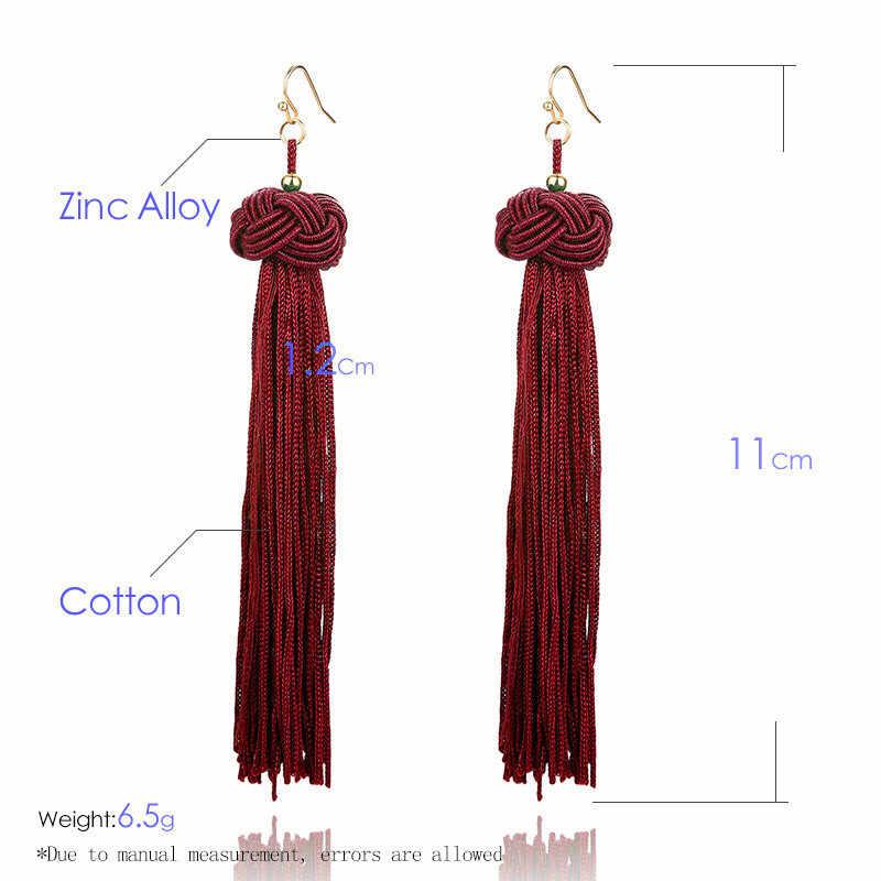 Vintage Ethnic Long Tassel Drop Earrings for Women Lady Fashion Bohemian Statement Fringe Dangle Women Earring 2019 Jewelry