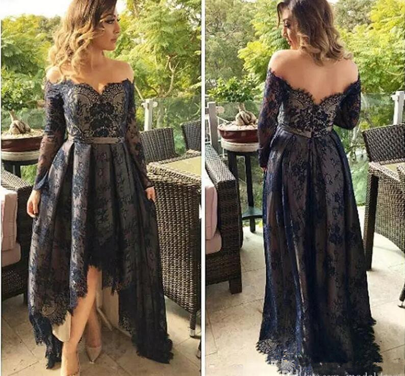Long Sleeves Full Lace Prom Dresses 2019 Off The Shoulder A Line High Low Arabic Navy Blue Evening Pageant Party Gowns Cheap