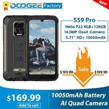 DOOGEE – Smartphone S59 Pro, téléphone Mobile robuste, IP68/IP69K, 10050mAh, 5.71 pouces HD +, Helio P22 Octa Core, 4 + 128 go, 2W, haut-parleur de Volume