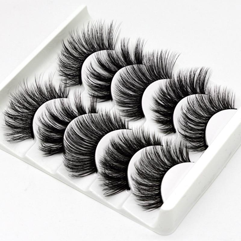 5Pairs 3D Faux Mink Hair False Eyelashes Natural/Thick Long Eye Lashes Wispy Makeup Beauty Extension Tools