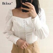 Camicetta da ufficio bianca Sexy camicia da donna manica a sbuffo top da donna camicette a tunica colletto quadrato da donna camicie Casual con bottoni autunno