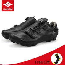 Hot Santic mężczyźni MTB Mountain rowerowe obuwie rowerowe profesjonalne samoblokujące buty rowerowe do jazdy Zapatillas Sapatilha Ciclismo tanie tanio CN (pochodzenie) Dla dorosłych Oddychające Stretch Spandex Narrow (aa n) Hook loop S12025H Pasuje prawda na wymiar weź swój normalny rozmiar