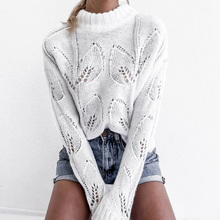 KHALEE YOSE White Crochet Pullover Sweater Autumn 2019 Hollow Out Knitted Sweaters O-neck Long Sleeve Women Jumper Tops Female white hollow out scoop neck high low hem jumper