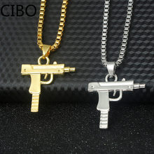 2019 New gold Pistol Gun Uzi Pendant Necklace for Men women HipHop Dance Charm Cuban Link Chain Necklace For Unisex Jewelry Gift(China)