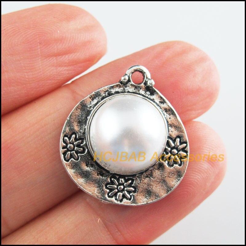 8Pcs Tibetan Silver Tone Retro White Acrylic Flower Heart Charms Pendants 20.5x22.5mm