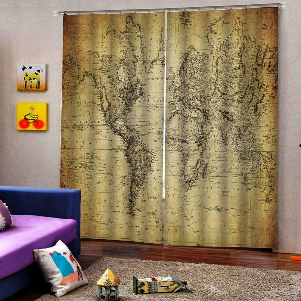 3D окно занавески для гостиной занавески в спальню Cortinas заказной размер ретро желтая карта занавес s - 3