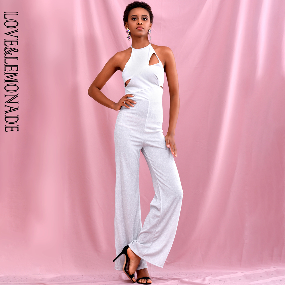 LOVE & LEMONADE Sexy Silver Halter Cut Out Bodycon Flared Elastic Reflective Material Jumpsuit LM82053