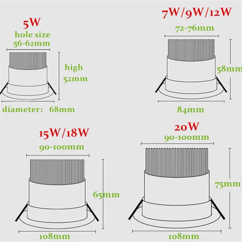 Dimbare AC110V-220V 5W7W9W12W15W18W20W Plafond Downlight Epistar Led Inbouw Plafond Lamp Spot Licht Voor Thuis Verlichting 5