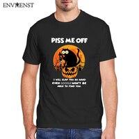 Divertente maglietta gatto nero uomo donna abbigliamento divertente regali di Halloween maglietta grafica gatto arrabbiato Harajuku maglietta manica corta magliette da uomo