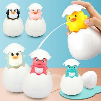 Детские игрушки для душа, обучающие игрушки для детей, для раннего развития, для ванной комнаты, для разбрызгивания яиц, плавающая утка, пингвина, для распыления воды