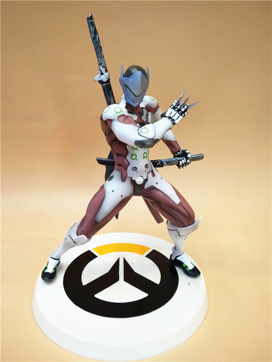 Anime Game Overwatch Genji Changeable Hands Black White Figure Dolls 27cm 3
