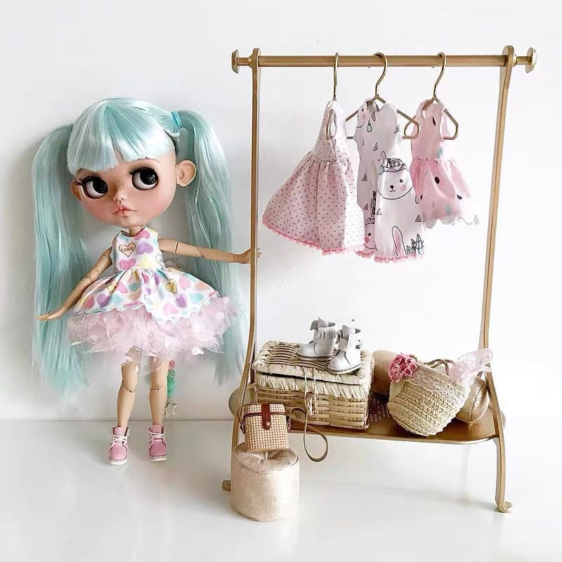 Gold Hanger For Children's Family Doll Doll Room Furniture Accessories Bjd Wardrobe Hanger Baby Gifts