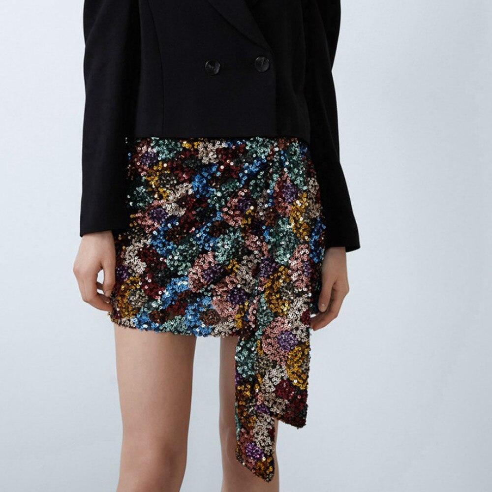 Женская шикарная драпированная мини-юбка, сексуальная Женская Клубная юбка с запахом, роскошные Клубные вечерние Облегающие юбки