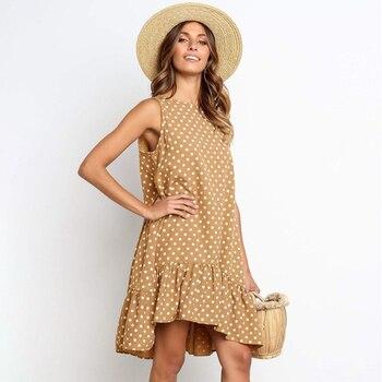 Women Summer Dress Fashion Polka Dot Sleeveless Beach Mini Dress For Women Casual Print Short Loose Blue Sundress 2020 Plus Size 3