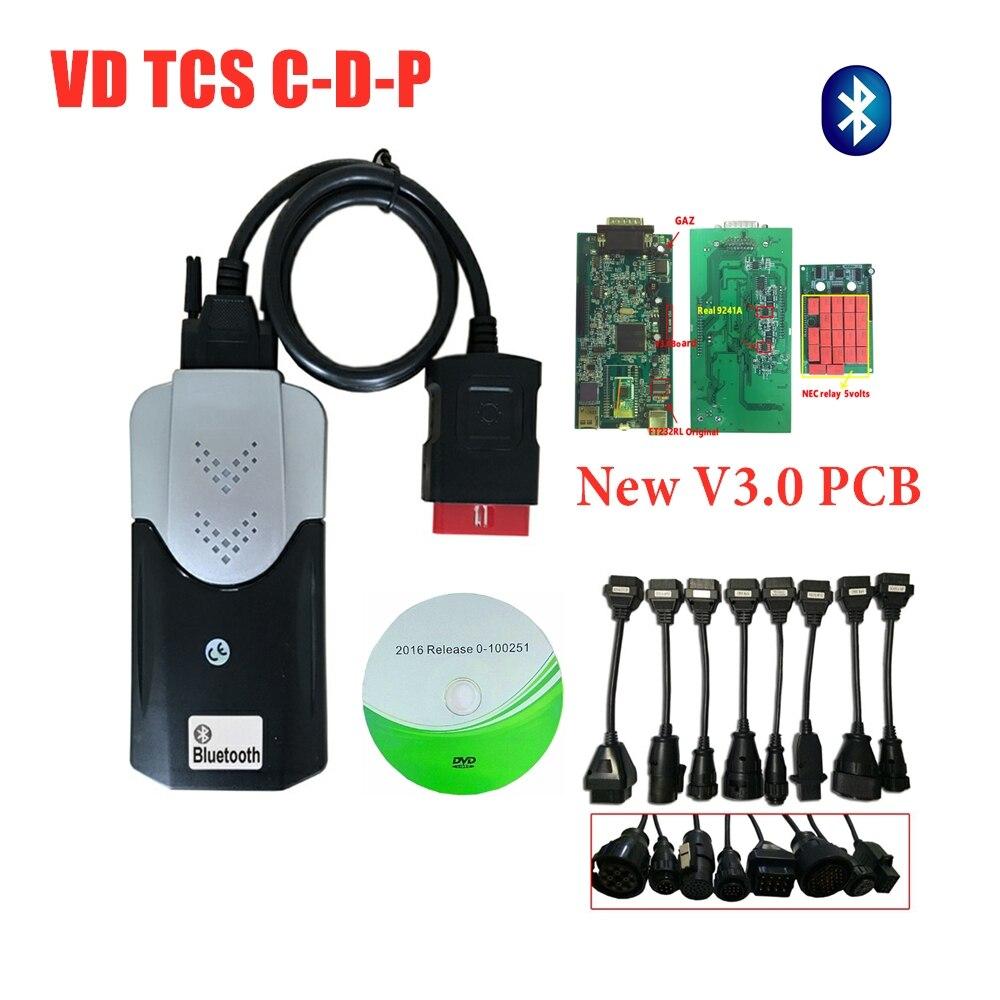 2019 VD TCS C-D-P 2016R0 keygen с bluetooth v3.0 pcb vd ds150e c-d-p для delphis obd obd2 Автомобильный сканер + 8pc автомобилей/грузовиков Кабели