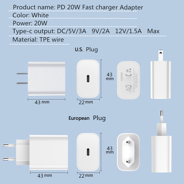 LISM 20W PD Fast Charger For iPhone 12 11 Xs Xr Pro Max 8 Usb C Adapter Charger Type C Quick Charging QC3.0 For Xiaomi Samsung