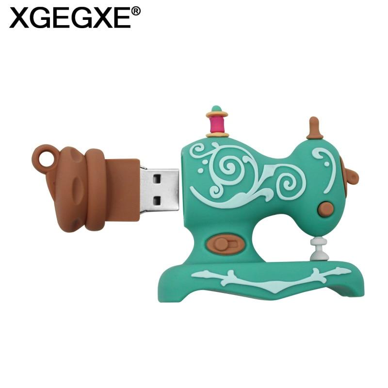 XGEGXE Sewing Machine USB Flash Drive 32GB 16GB USB 2.0 Lovely Cartoon 64GB Pen Drive 8GB 4GB Mini Pendrive Memory Stick