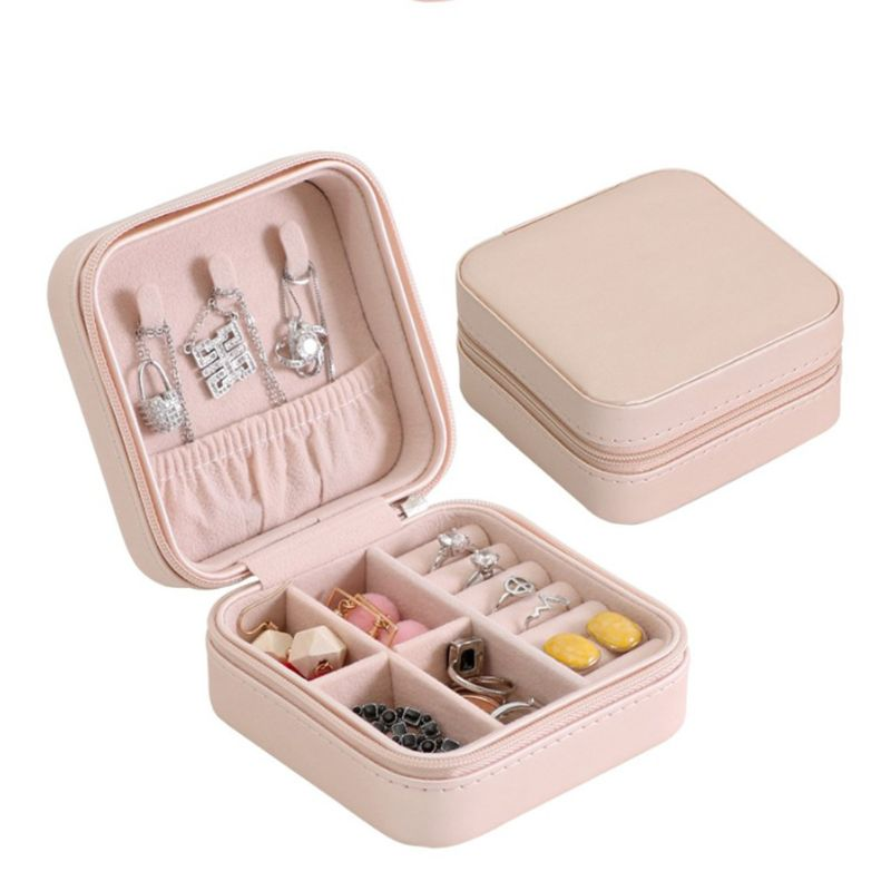 5 Colors Jewelry Organizer Display Travel Jewelry Case Boxes Portable Jewelry Box Zipper Leather Storage Zipper Jewelers