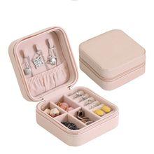 Organizador de joyas en 5 colores, cajas de viaje para joyas, caja de joyería portátil con cremallera, caja de almacenamiento de cuero, joyeros con cremallera