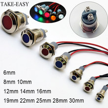 Multicolor Light Indicator Led 220v 6/8/10/12/14/16/19/22/25/28/30 mm Motorcycle Signal 24v Lights Red Green Beacon Light Led