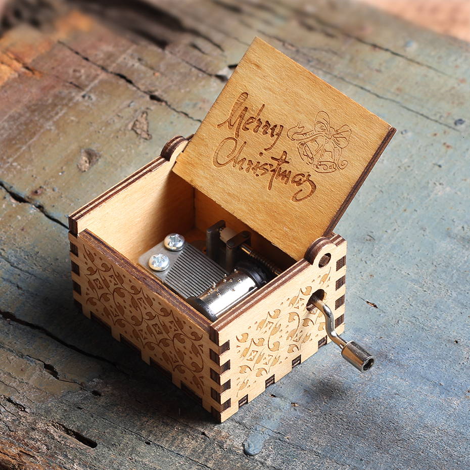 Новинка, деревянная музыкальная шкатулка для королевы, Игра престолов, Dragon Ball TO MY Goigeous, тематическая музыкальная шкатулка для жены, рождественский подарок - Цвет: Merry Christmas