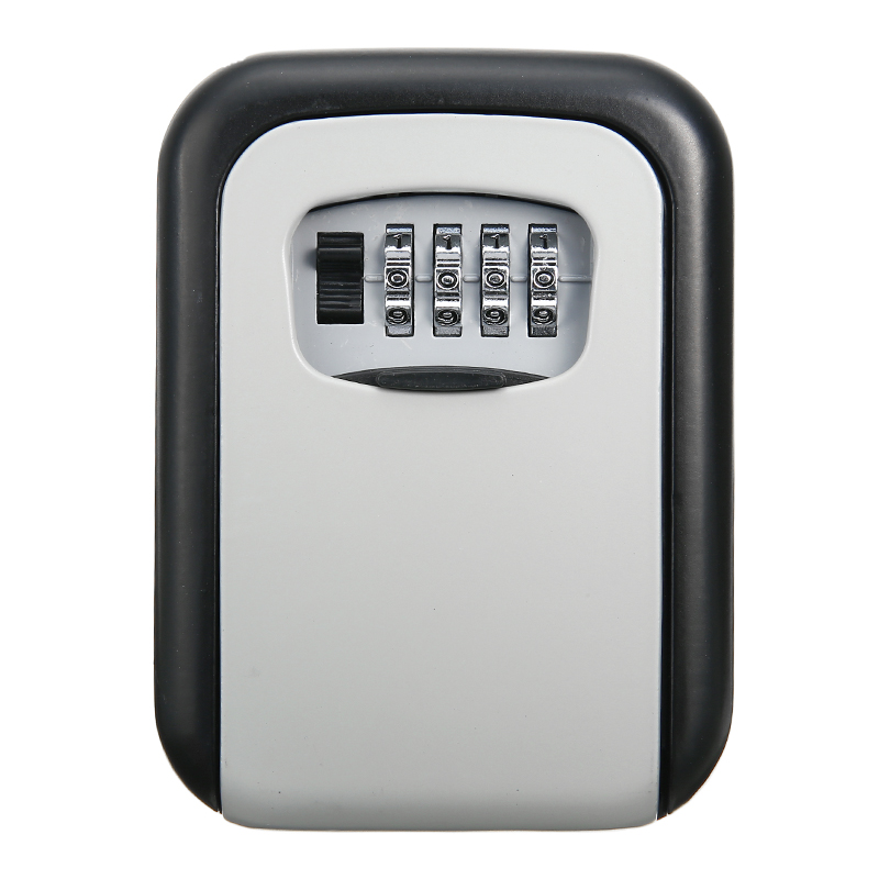House Safes 1pc Wall Mounted Aluminum Alloy Key Safe Box Weatherproof 4 Digit Combination Key Storage Lock Box 12.5*9.5*4cm